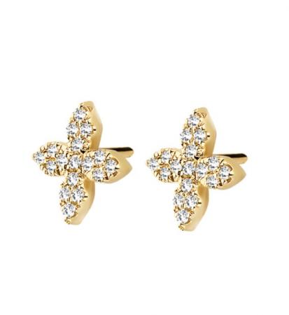 Bloemvormige studs uit sterling silver met witte diamantjes