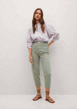 Groene jeans met hoge taille