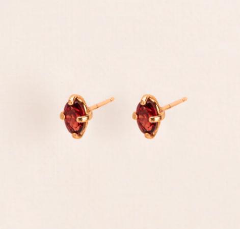 Boucles d'oreilles en argent sterling avec grenat (pierre de naissance de janvier)