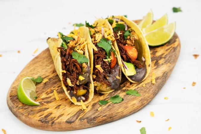 Taco's met pulled paddenstoelen