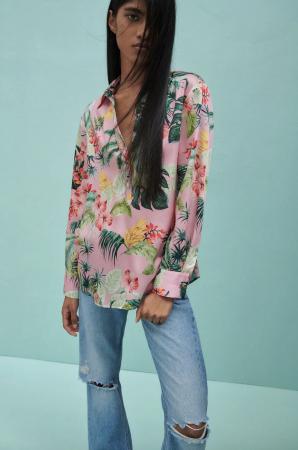 Chemise à imprimé tropical