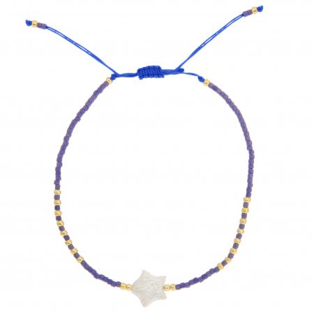 Stoffen armbandje met paarse kralen en ster