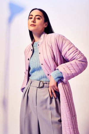 Lavendelkleurige lange jas