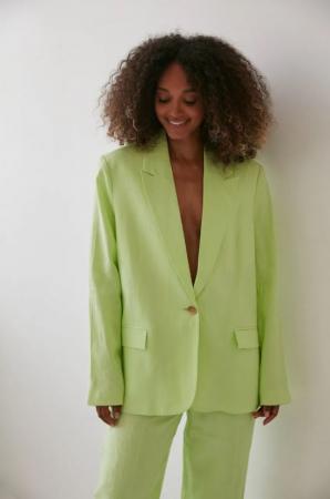 Groene linnen blazer