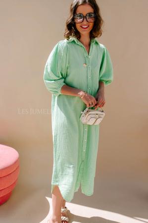 Robe chemise vert menthe à manches trois-quarts