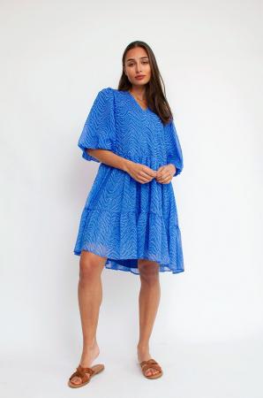 Robe mini bleu cobalt à manches ballon et imprimé animal