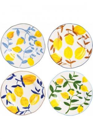 Set van vier porseleinen borden met citroendessin