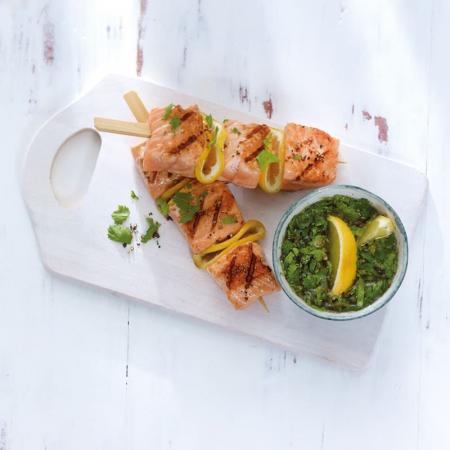 Brochettes de saumon et sauce à la coriandre (4 points)