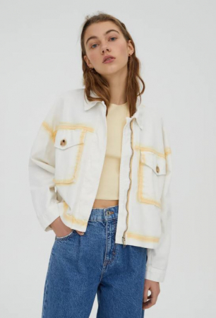 Katoenen jasje met gele details