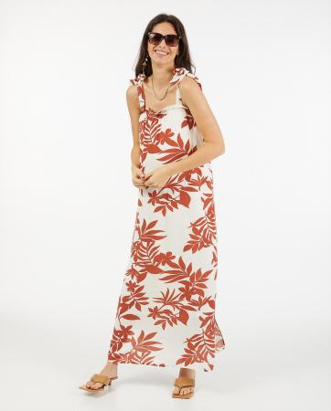 Witte maxi-jurk met roestkleurige palmprint