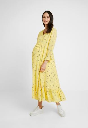 Gele maxi-jurk met V-hals, lange mouwen en bloemenprint