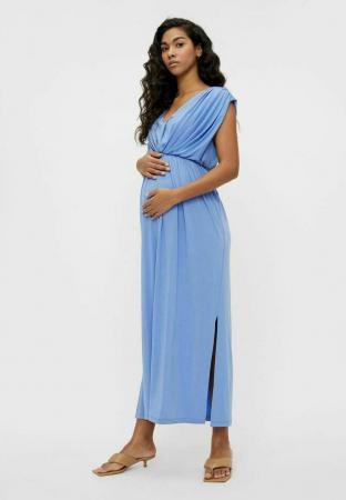 Babyblauwe maxi-jurk met tailleband en split