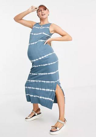 Grijs-blauwe maxi-jurk met tie-dyeprint en split