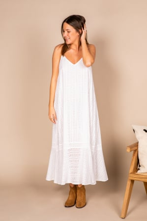 Witte maxi-jurk in broderie anglaise