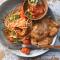 Dinsdag: kipschnitzel met spaghetti en kerstomaatjessaus