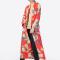 Kimono fleuri rouge