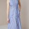 Midi-jurk met horizontale en diagonale strepen
