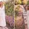 Kanten maxi-jurk met lange mouwen en V-hals
