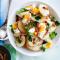 Dinsdag: aardappelsalade met spek en zachtgekookte eitjes