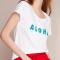 Wit T-shirt 'Aloha'