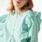 Wit-groen gestreepte blouse met ruches