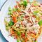 Donderdag: noedelsalade met kippenreepjes