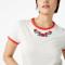 T-shirt van organisch katoen met rood kraagje en roosjes