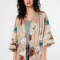 Nude kimono met bloemenprint