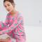 Roze pyjama met space cats