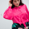 Fuchsia blouse met pofmouwen