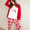 Rode pyjamaset met geruite broek