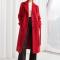Long manteau rouge en laine d'alpaga