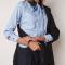 Blauw-wit gestreept hemd met strik en kanten kraagje