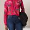 Fuchsia hemd met bloemenprint
