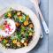 Lauwe pompoensalade met linzen (4 pers. – 25 min. + 30 min. in de oven)
