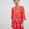 Rode mini-jurk met 3/4 mouwen