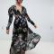 Zwarte maxi-jurk met bloemenprint en lange mouwen