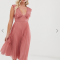 Oudroze midi-jurk met plissérok