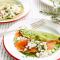 Pannenkoekjes met spinazie, feta en gerookte zalm