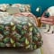 Parure de lit housse de couette deux personnes imprimé animal et feuilles
