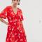 Mini-jurk met korte mouwen en roze bloemenprint