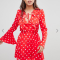 Mini-jurk met lange mouwen en polkadots