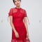 Kanten midi-jurk met korte mouwen