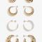 Set van 4 paar gouden oorringen