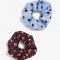 Set van twee scrunchies met polkadots en hartjesprint