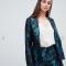 Blauw-paarse blazer in jacquard
