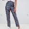 Blauw-rood gestreepte broek in jacquard