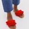 Rode sandalen met pompons en kwastjes