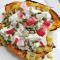 3. Gepofte zoete aardappel met prei- en yoghurtdressing