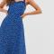 Kobaltblauwe midi-jurk met bloemenprint